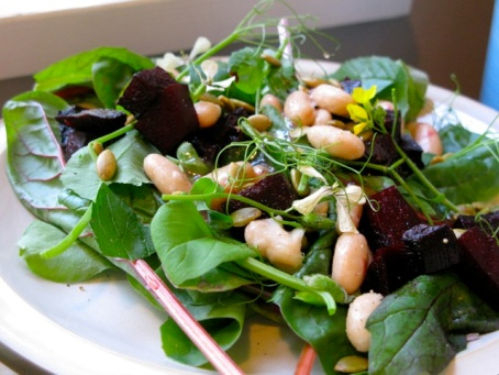 white bean beet salad
