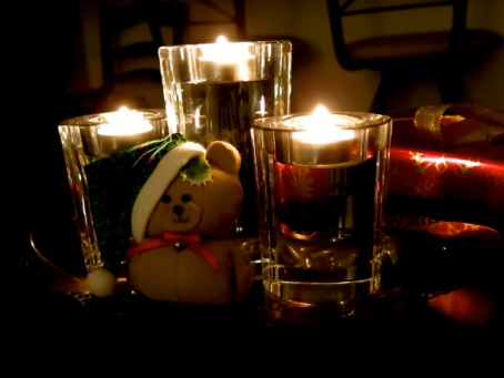 teddy bear and candles