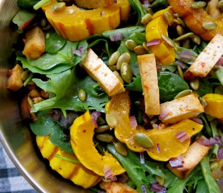 squash and tofu salad